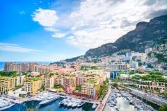 Arquitetura da cidade da opinião aérea do principado de Mônaco Montecarlo. Costa dos azuis celestes. França Fotos de Stock