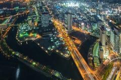 Arquitetura da cidade da opinião superior de Yokohama Fotos de Stock Royalty Free