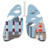 Arquitetura da cidade da poluição do ar ilustração stock