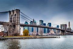 Arquitetura da cidade da ponte de Brooklyn Imagens de Stock