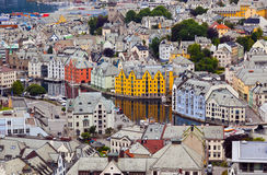 Arquitetura da cidade de Alesund Noruega Fotos de Stock Royalty Free
