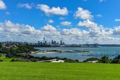 Arquitetura da cidade de Auckland, vista da central de Auckland imagem de stock