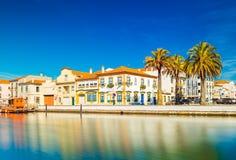 Arquitetura da cidade de Aveiro, 'a Veneza portuguesa ', Portugal fotografia de stock