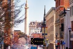 Arquitetura da cidade de Baltimore com coluna de Washington, EUA Maryland foto de stock