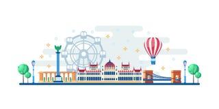Arquitetura da cidade de Budapest com os marcos turísticos famosos Ilustração lisa do vetor Curso ao projeto horizontal da bandei ilustração do vetor