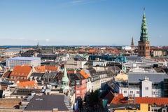 Arquitetura da cidade de Copenhaga da torre redonda Fotos de Stock Royalty Free