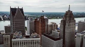 Arquitetura da cidade de Detroit imagens de stock
