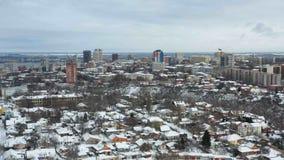 Arquitetura da cidade da cidade de Dnipro no inverno video estoque