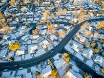 Arquitetura da cidade de Fort Collins com neve Fotos de Stock