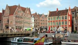 Arquitetura da cidade de Ghent, Bélgica Imagem de Stock