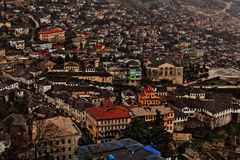 Arquitetura da cidade de Gjirokaster, Albânia Imagens de Stock Royalty Free