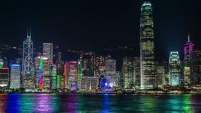 Arquitetura da cidade de Hong Kong Victoria Harbour na noite 4K TimeLapse - em agosto de 2016, Hong Kong vídeos de arquivo