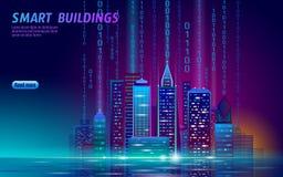 Arquitetura da cidade de incandescência do néon esperto da cidade 3D Conceito futurista do negócio da noite inteligente da automa ilustração stock