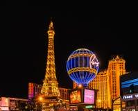 Arquitetura da cidade de Las Vegas na noite imagens de stock royalty free