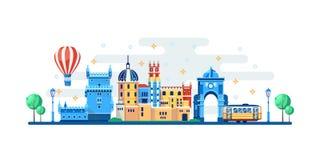 Arquitetura da cidade de Lisboa com os marcos turísticos famosos Ilustra??o lisa do vetor Curso aos elementos do projeto da bande ilustração do vetor