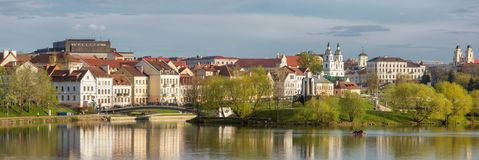 Arquitetura da cidade de Minsk na mola, Bielorrússia imagem de stock