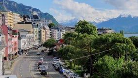 Arquitetura da cidade de Montreux no tempo do dia de verão filme
