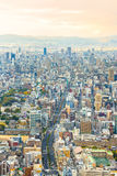 Arquitetura da cidade de Osaka no por do sol Fotografia de Stock