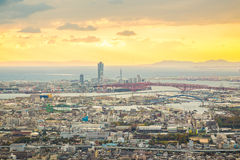 Arquitetura da cidade de Osaka no por do sol Foto de Stock Royalty Free