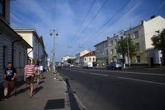 Arquitetura da cidade de Vladimir, Rússia Rua de Bolshaya Moskovskaya no centro da cidade histórico fotos de stock royalty free