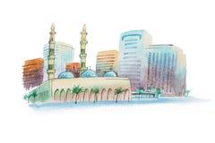 Arquitetura da cidade do Aquarelle com ilustração da aquarela da mesquita Imagens de Stock Royalty Free