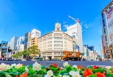 Arquitetura da cidade do distrito de Ginza, Tóquio Imagens de Stock Royalty Free