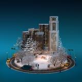 Arquitetura da cidade do inverno da noite foto de stock