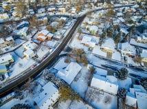 Arquitetura da cidade do inverno de Fort Collins Foto de Stock