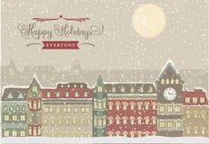 Arquitetura da cidade do inverno, ilustração do Natal Imagens de Stock Royalty Free
