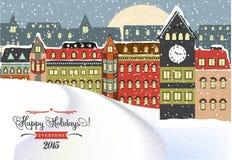 Arquitetura da cidade do inverno, ilustração do Natal Fotografia de Stock