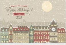Arquitetura da cidade do inverno, ilustração do Natal Imagem de Stock Royalty Free