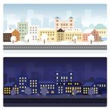 Arquitetura da cidade do inverno no tempo do dia e na noite Imagens de Stock Royalty Free