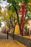 Arquitetura da cidade do outono com as lâmpadas da folha e de rua Imagens de Stock Royalty Free
