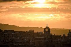 Arquitetura da cidade do por do sol Imagens de Stock