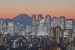 Arquitetura da cidade do Tóquio e montanha fuji no crepúsculo imagens de stock