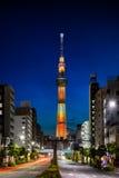 Arquitetura da cidade do Tóquio na noite Imagem de Stock