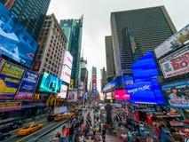 Arquitetura da cidade do tempo do dia de Time Square foto de stock