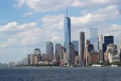 Arquitetura da cidade em um dia nebuloso, New York City de Manhattan fotos de stock