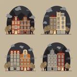 Arquitetura da cidade europeia Casas de Amsterdão Imagem de Stock Royalty Free