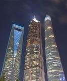 Arquitetura da cidade financeira China do distrito de Shanghai Pudong Fotografia de Stock Royalty Free