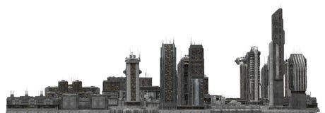 Arquitetura da cidade futura isolada na ilustração 3D branca Imagem de Stock Royalty Free