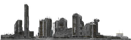 Arquitetura da cidade futura isolada na ilustração 3D branca Imagem de Stock
