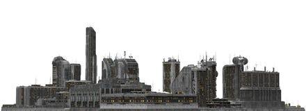Arquitetura da cidade futura isolada na ilustração 3D branca Fotos de Stock Royalty Free