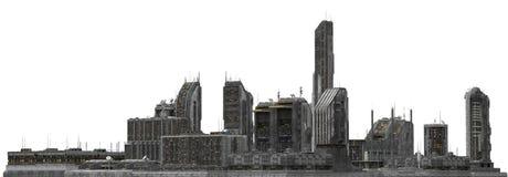 Arquitetura da cidade futura isolada na ilustração 3D branca Fotografia de Stock