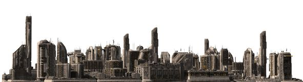 Arquitetura da cidade futura isolada na ilustração 3D branca Fotos de Stock