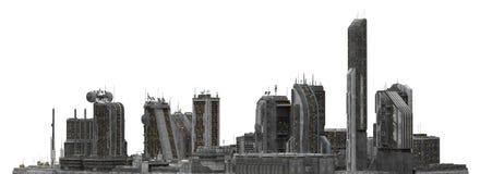 Arquitetura da cidade futura isolada na ilustração 3D branca Imagens de Stock