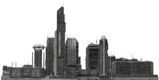 Arquitetura da cidade futura isolada na ilustração 3D branca Fotografia de Stock Royalty Free