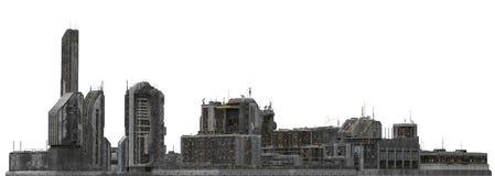 Arquitetura da cidade futura isolada na ilustração 3D branca Foto de Stock
