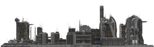 Arquitetura da cidade futura isolada na ilustração 3D branca Imagens de Stock Royalty Free
