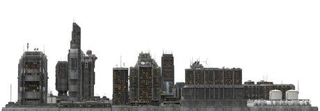 Arquitetura da cidade futura isolada na ilustração 3D branca Foto de Stock Royalty Free